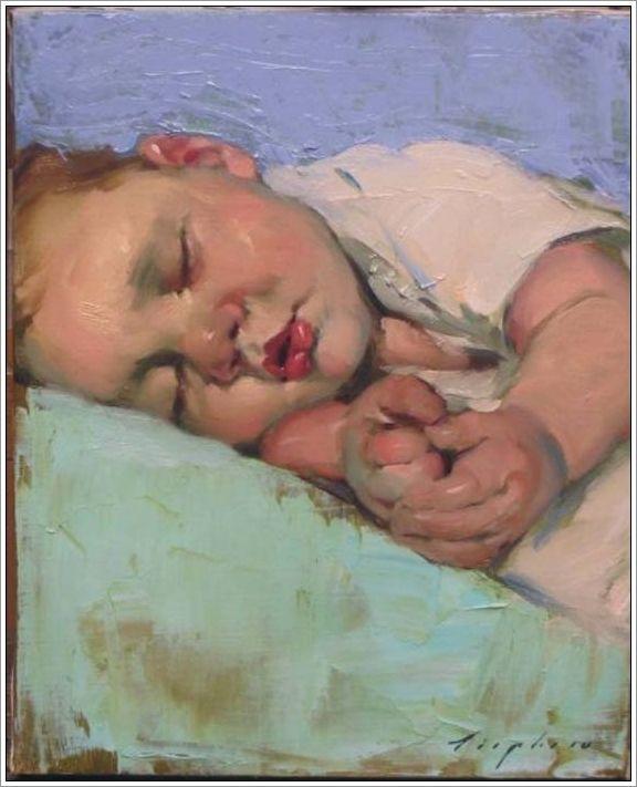 Bebé durmiendo - Malcolm T. Liepke, Minneapolis (Minnesota), 1953. #art #pintura #barcelona