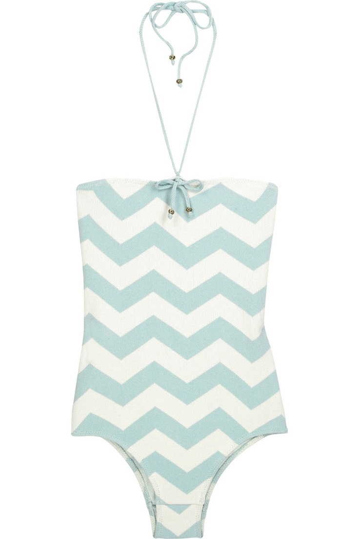 Strapless knitted one-piece chevron bathing suit