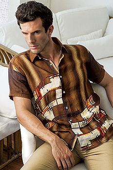 Irish Linen vertical shaded digital print shirt.