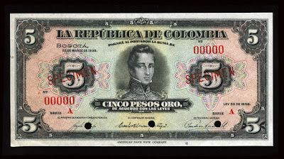 Currency of Colombia 5 Pesos Oro Banknote of 1938. Colombian peso, Colombian banknotes, Billetes Colombianos, Colombian paper money, el papel moneda en Colombia, Colombian bank notes, Colombia banknotes Obverse: Portrait of General Jose Maria Cordova at center.  Printed by American Bank Note Company, New York.