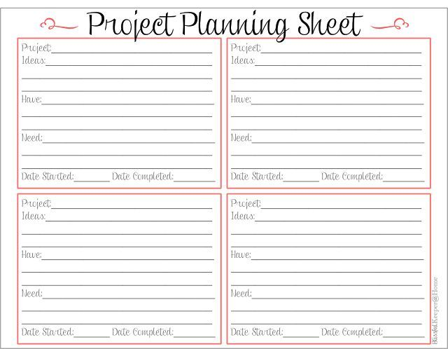 crochet project sheet | Free Printable Project Planner | Project Planning Sheet
