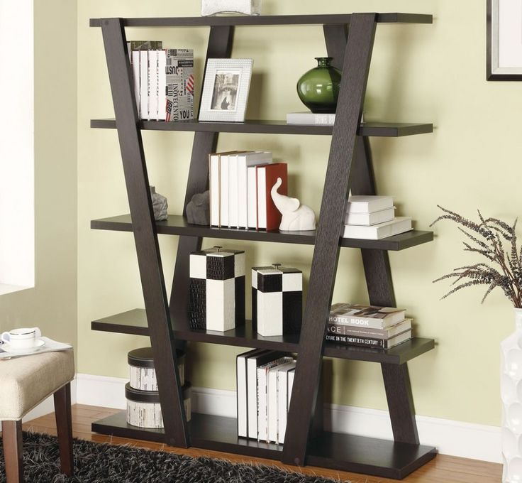 Rmarkable Black Book Shelf Design Idea With Books, White Photo Frame, And Green Vase