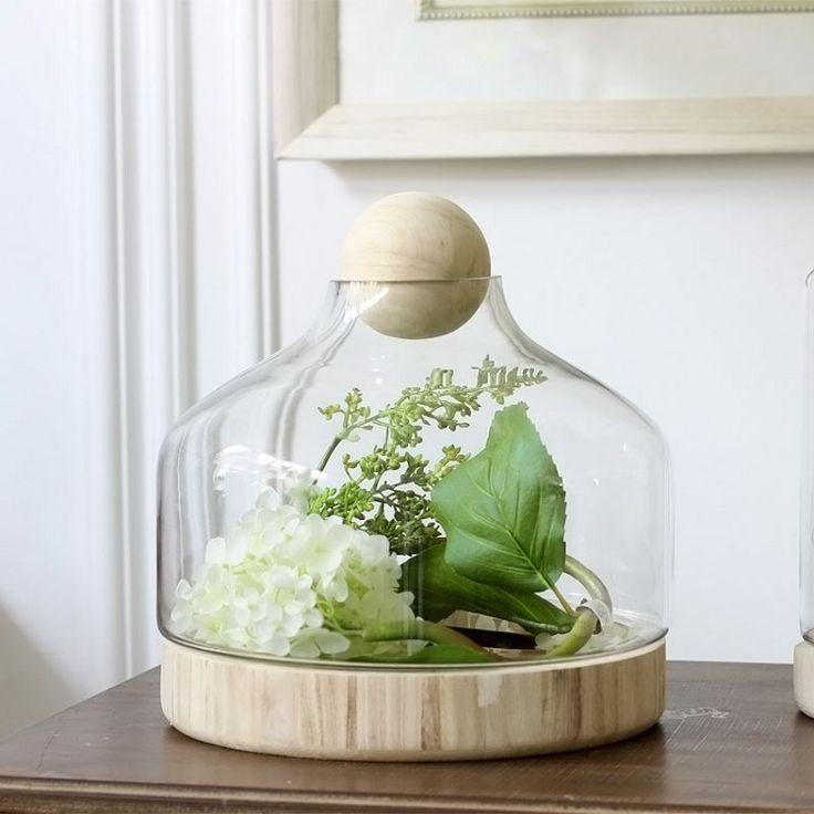 décoration vase en verre alternatif- cloche en verre avec socle bois et fleur blanche