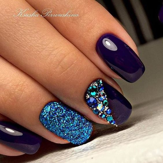 Purple and teal with glitter and rhinestones