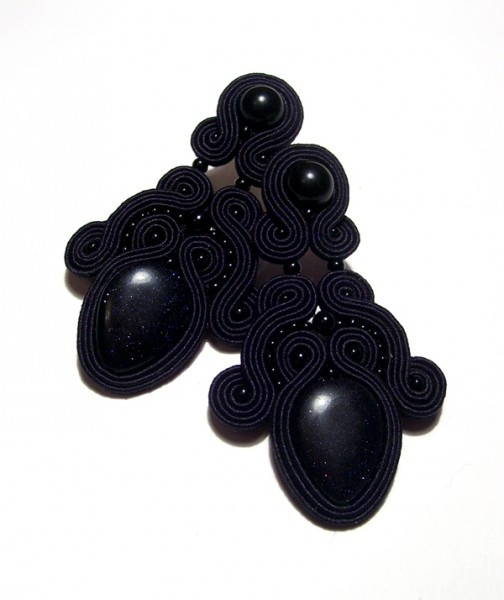 soutache earrings with awenturine