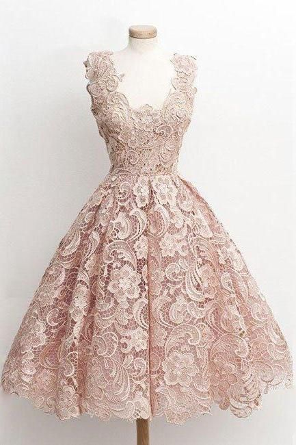 homecoming dresses,cute light pink lace short prom dress, lace bridesmaid dress