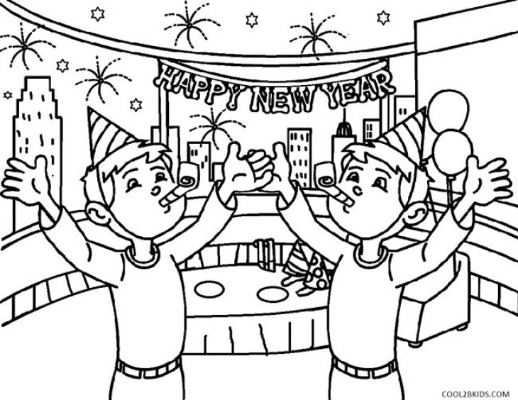 Kids Printable Coloring Page Of Happy New Year