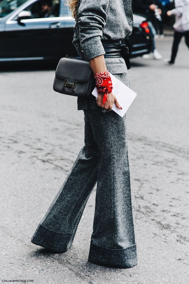 How to Wear Wide Leg Cuffed Pant, Cinched Gray Blazer, and Bandana Bracelet to…