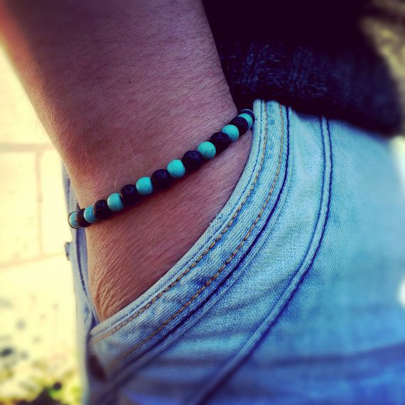 Turquoise and lava stone bracelet for men / Gift for by DRISAIN