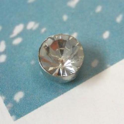 Rhinestone Single Earring White - One Size