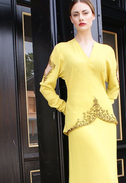 New 1940's Dolman Sleeved Beaded Chartreuse Dress by BoudoirQueen