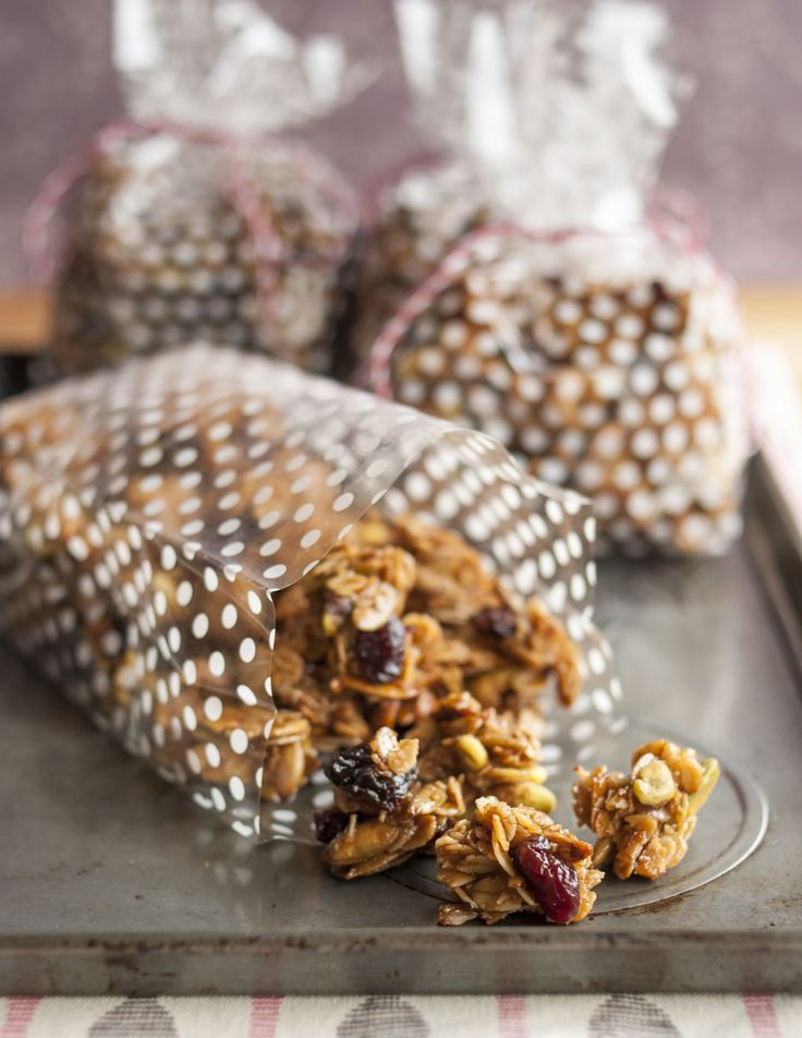 "This right here is what I like to call my ""snacking granola."" We're talking about big chunky clusters of lightly-sweet granola studded with pistachios and dried cherries. A handful of this makes all other afternoon snacks look puny by comparison — and a whole bag of it makes the ultimate gift for everyone from the friends in your book group to the babysitter."