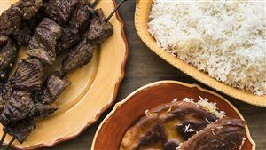 Riz croutillant et brochettes de boeuf mariné (Iran) | par Razak Malekan | sur Ricardo.com