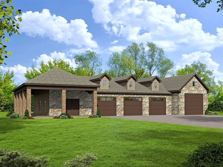 51 best tandem garage plans images on pinterest tandem for House plans with 4 car attached garage