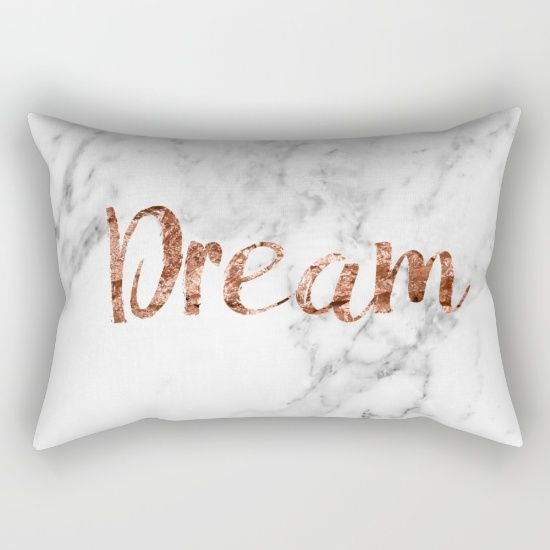 Rose gold dream on marble background throw pillow cushion on Society6