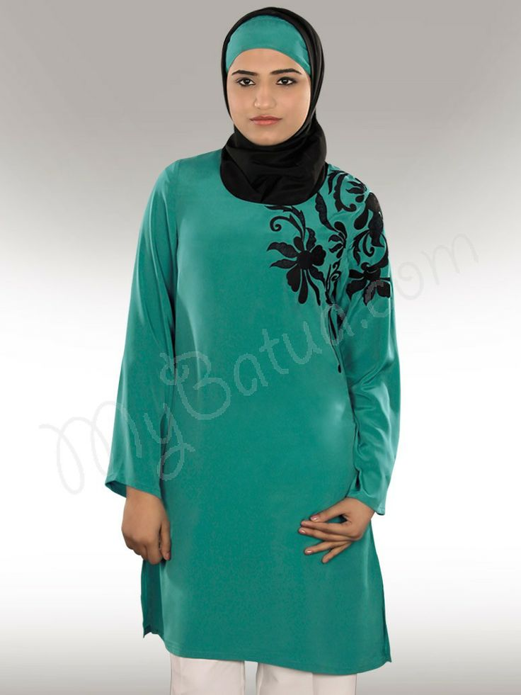 Subayah Tunic !  Style No : Krf-097  Shopping Link  : http://www.mybatua.com/shamima-sea-green-crepe-islamic-tunics  Available Sizes XS to 7XL (size chart: http://www.mybatua.com/size-chart/#ABAYA/JILBAB)   •A line round neck Tunic •Beautiful floral machine hand embroidery on side shoulder area •Straight sleeves •Utility pockets on both sides •Side cut slit opening •Fabric: Crepe (polyester) •Color: Bottle Green •Care: Dry Clean/Machine wash with like colour