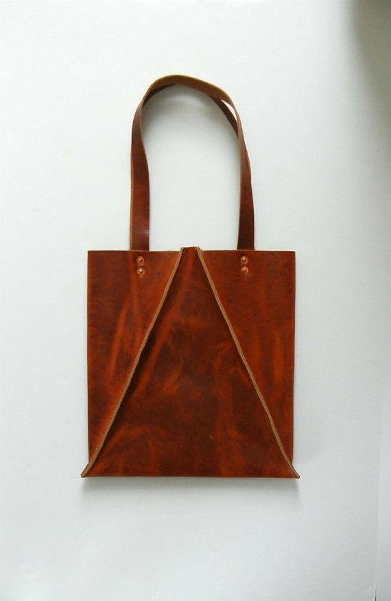 Caramel Brown Leather Tote Bag