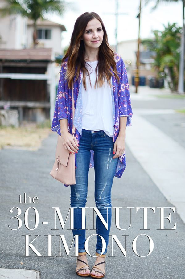 The 30 Minute Kimono! Kimonos are definitely in this season. But if your like me and haven't found quite the right one yet, this is sure to cheer you up! It is quick, simple and inexpensive and you get the style you want at the end of the day. Also, you know nobody else will have the same one!