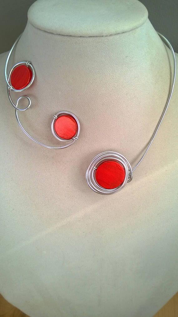 Bridesmaids necklaces  Orange wedding jewelry  Orange open