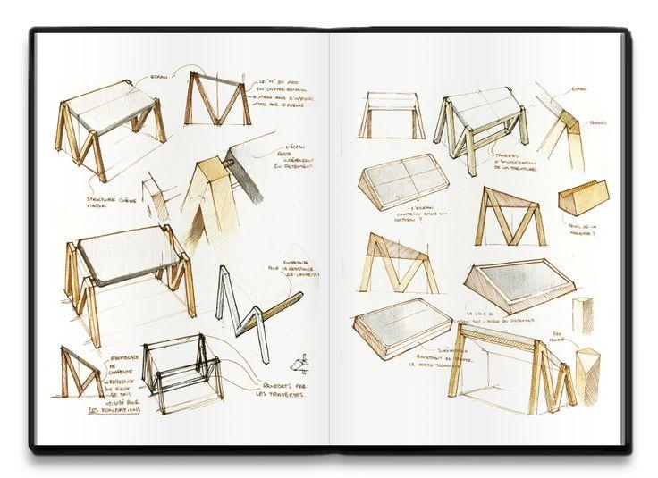 Croquis - Table design numérique MM par Alix Videlier #design #table #sketch #croquis