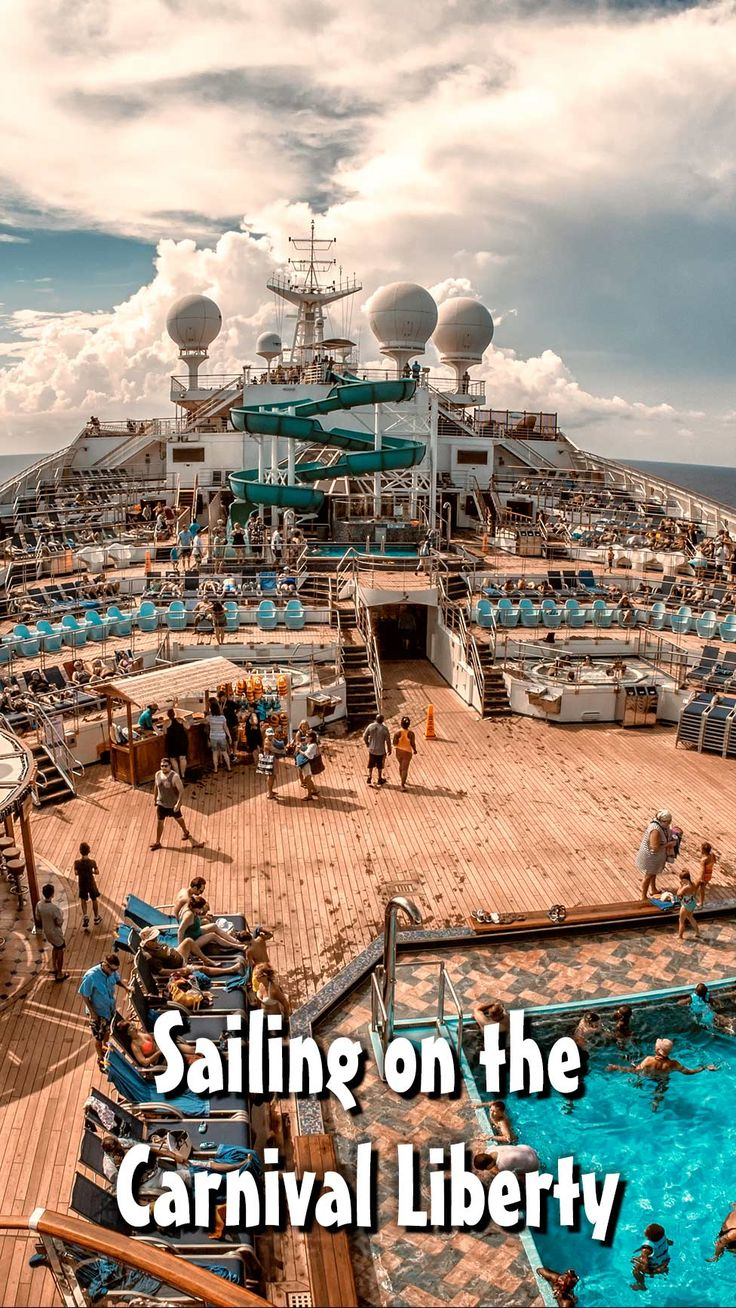 Passengers on the Carnival Liberty enjoy the sun and the pool as the ship sails through the Gulf of Mexico on our recent cruise. Read all about it at Burnsland!