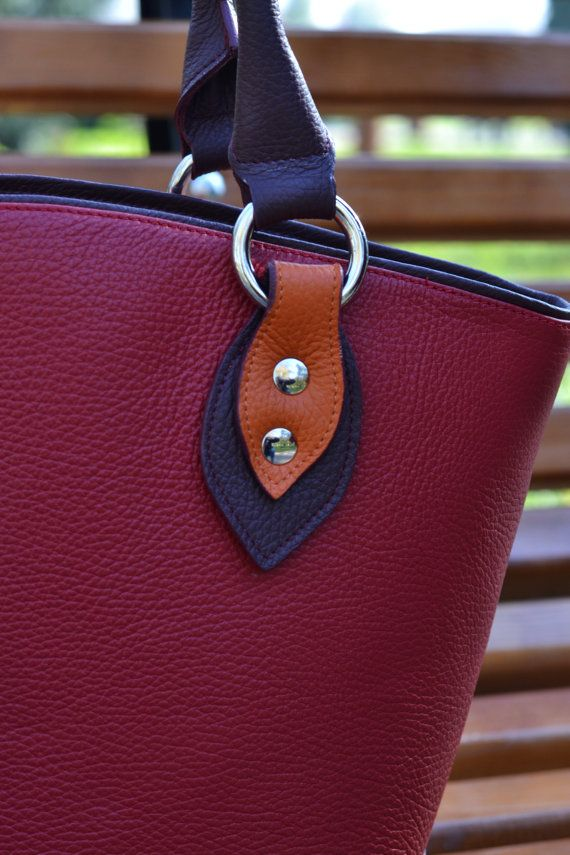 LEATHER bagTOTE Calf shoulder bag Unique red leather by CORYSBAGS