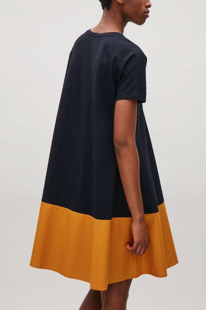 COS image 3 of Contrast panel dress in Blue Dark