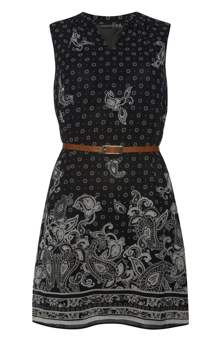Primark - Schwarzes Gürtelkleid mit Paisley-Muster