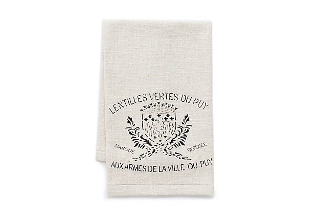 French Crest Hand Towels  Printed with a label from a vintage sack of lentils, these three woven hand towels will add Gallic charm to a powder room.