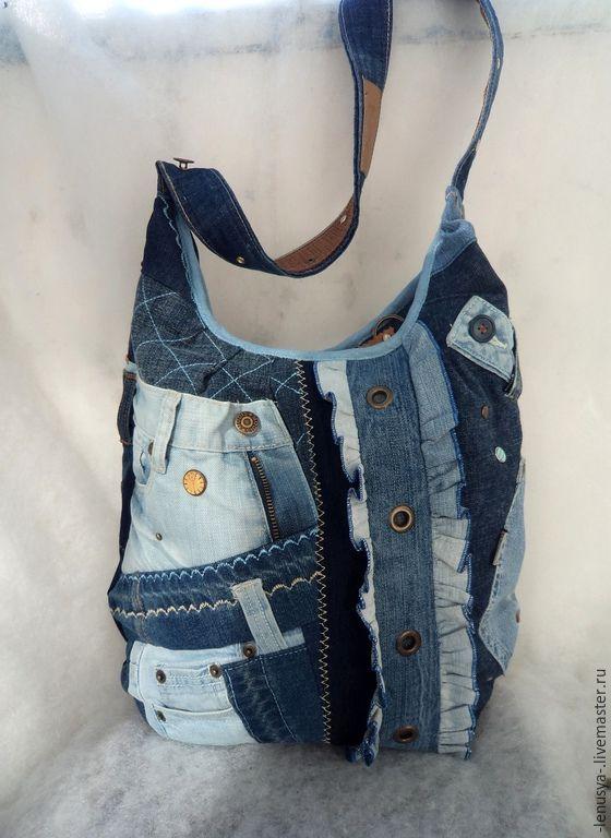"""Купить Двусторонняя джинсовая сумка """"MICHEL"""" - синий, абстрактный, джинсовая сумка, лоскутная сумка"""