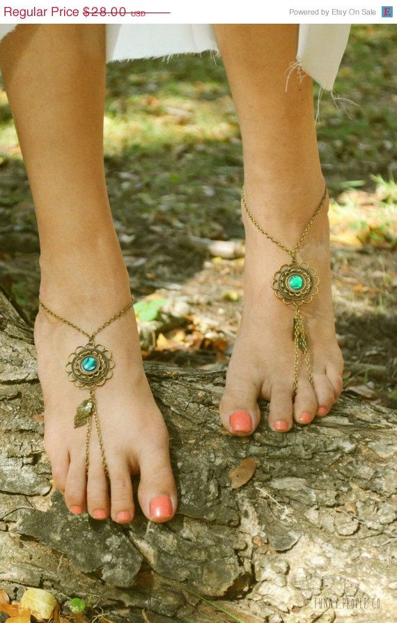 Labor Day Sale Barefoot Sandals Footless Sandals Anklet Toe Ring Foot Jewelry Boho Bohemian Gypsy Floral Green Disk