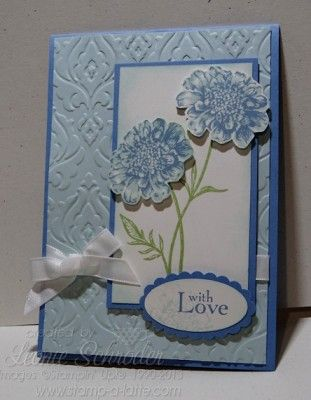 Blue and Baroque .... sweet and soft using Field Flowers and Beautifully Baroque Embossing folder from @Coral Hinz' Up!  #stampinup #fieldflowers #beautifullybaroque