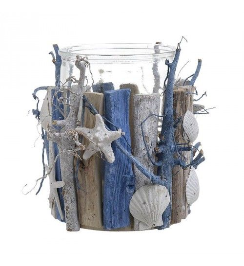WOODEN_GLASS 'SEASHELL' CANDLE HOLDER