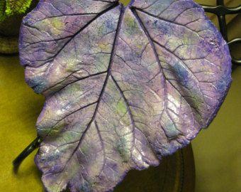 Comedero de pájaros cemento hojas de ruibarbo de por StudioJLK