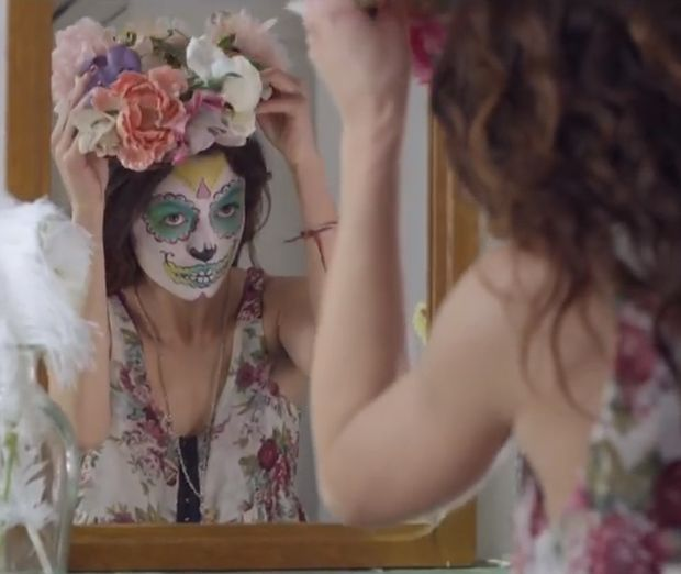 Pretty Sugar Skull Girl, mirror, flower crown, floral, pretty pretty From the music video, Prayer In C - Robin Schulz & Lilly Wood & The Prick