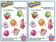Shopkins Party Game. Print large pictures of Shopkins and hide in party room. Give each child a copy of the list and a pencil.