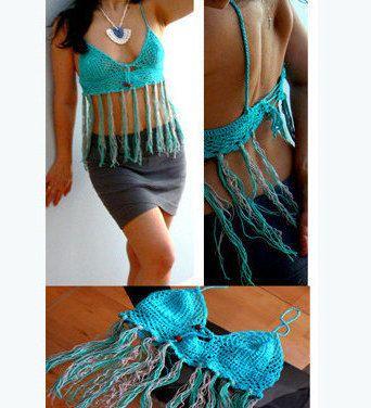 Caraco top du crop frange crochet bleu. Éco crochet réservoir-Boho festival bambou bleu haut/aqua, rose top de l'été. Haut de bikini dissimulation