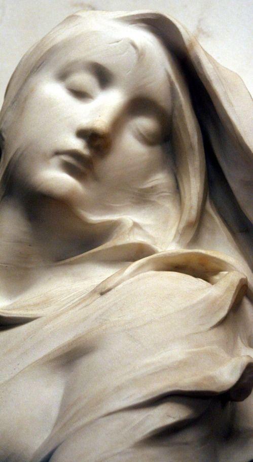 Marble detail is delicate and lifelike cf Le Souvenir detail, 1885, Musée d'Orsay (detail).
