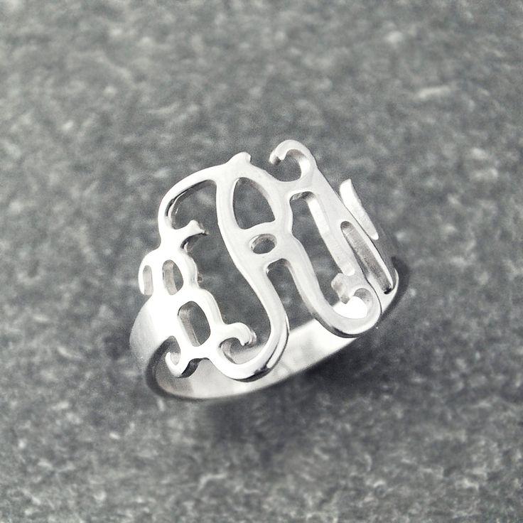 Monogram Ring, Handmade Ring, 3 Initials Wedding Ring , Personalized  silver monogram ring  perfect gift