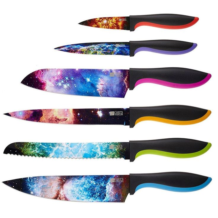 Kitchen Knife Set 6 Piece Stainless Steel Chef Santoku Paring Knives Utility #knifeset #kitchenknives #stainlesssteelknives #chefknives