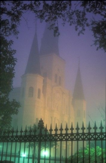 I love this perspective of St Louis Cathedral in the mist...the colors of purple, gold, and green lend to a Mardi Gras feel. Beautiful!