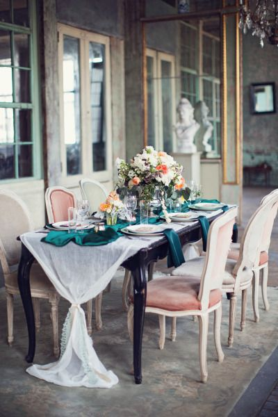 Emerald details: http://www.stylemepretty.com/little-black-book-blog/2014/05/12/emerald-mint-peach-wedding-inspiration/   Photography: Peaches & Mint - http://peachesandmint.com/