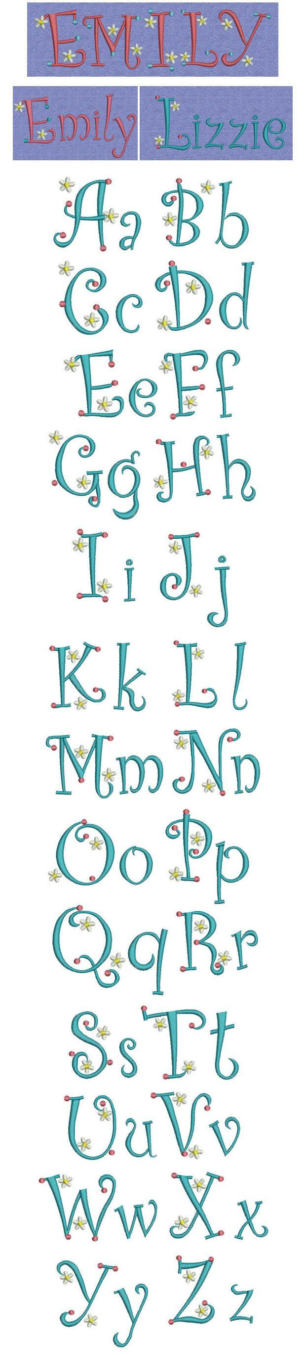 Embroidery   Free Machine Embroidery designs   Dots Daisies alphabet