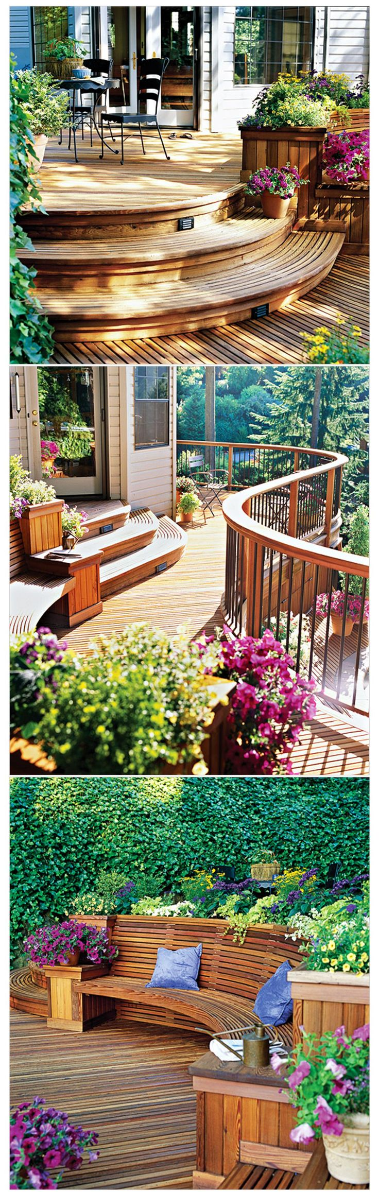 Jahzz ☯ | ..Multilevel-Deck with graceful Curves, great choice of plants and wood colours. (perfect design): Decks Ideas, Patio Step, Decks Design, Perfect Design, Outdoor Living Spaces, Back Porches, Outdoor Spaces, Grace Curves, Multilevel Decks