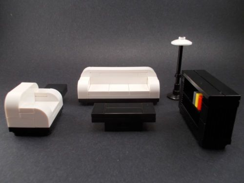Lego Furniture Formal Seating White w Couches Bookshelf Tables Town Lot | eBay