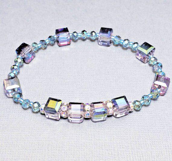 Swarovski Crystal Bracelet Turquoise Swarovski Crystal | Etsy ...