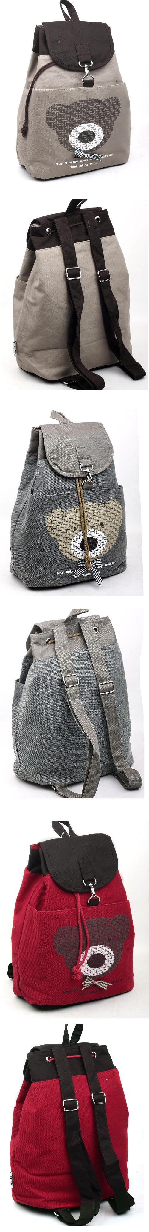 cartoon urso bobo lona mochilas mochilas e malas de viagem para as meninas 2013 saco de lona bolsa das