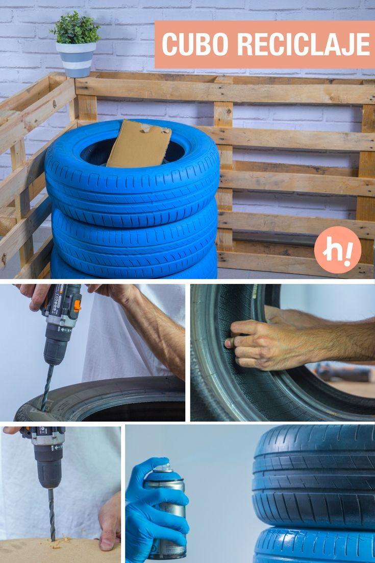 Cubo de reciclaje con neumáticos usados ➜  Crea tu propios cubos para reciclar papel, plástico, vidrio… Reciclar con orden es posible ;)  #DIY #Reciclaje #Neumáticos #Handfie