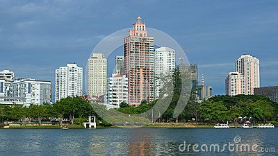 Lake and city view from Benjakitti park, Bangkok, Thailand.