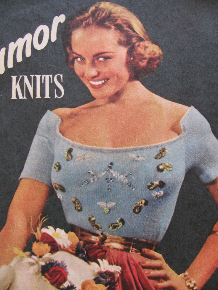 1955  Ladies Jewel Encrusted Blouse Knitting Pattern PDF Instant Download Woman's Weekly Knitting Pattern Evening Sweater by TassieVintage on Etsy